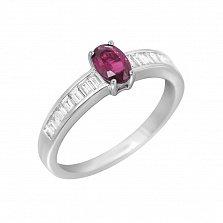 Кольцо в белом золоте Скарлетт с рубином и бриллиантами