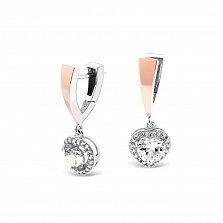 Серебряные серьги-подвески Лада с золотыми накладками и фианитами