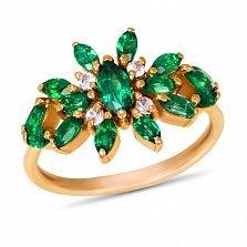 Золотое кольцо Батерфляй с синтезированными изумрудами и белыми фианитами