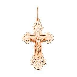 Крестик Священные слова в красном золоте