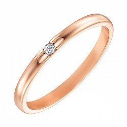 Обручальное кольцо из красного золота с бриллиантом 000121442