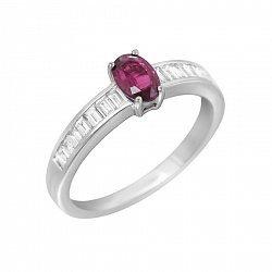 Кольцо в белом золоте с рубином и бриллиантами 000106797