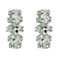 Серебряные серьги с хризолитом 000081776