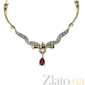 Колье из красного золота с рубином и бриллиантами Фидель 000021708