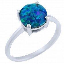 Серебряное кольцо Вайолет с синим опалом