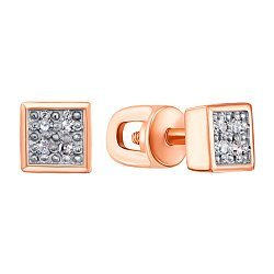 Серьги-пуссеты из красного золота с бриллиантами и родированием 000131653
