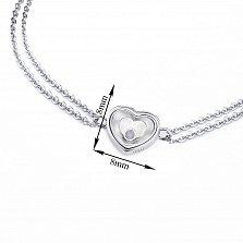 Серебряный двойной браслет Сердце малое с плавающим синтезированным опалом в стиле Шопар, 8x8мм