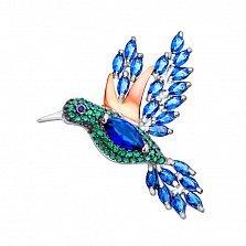 Серебряная брошь Колибри с синим альпинитом, зелеными фианитами и позолотой