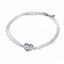 Серебряный двойной браслет Сердце большое с танцующим белым фианитом, 12x13мм