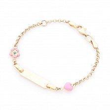 Золотой браслет для гравировки Принцесса с сердечком и цветочком