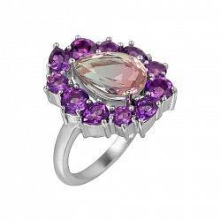Серебряное кольцо с аметистами и фиолетовым алпанитом 000081585