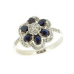 Золотое кольцо в белом цвете с сапфирами и бриллиантами 000021149