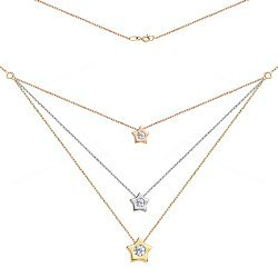 Золотое колье в комбинированном цвете Парад звезд с 3-мя подвесками-звездами и фианитами