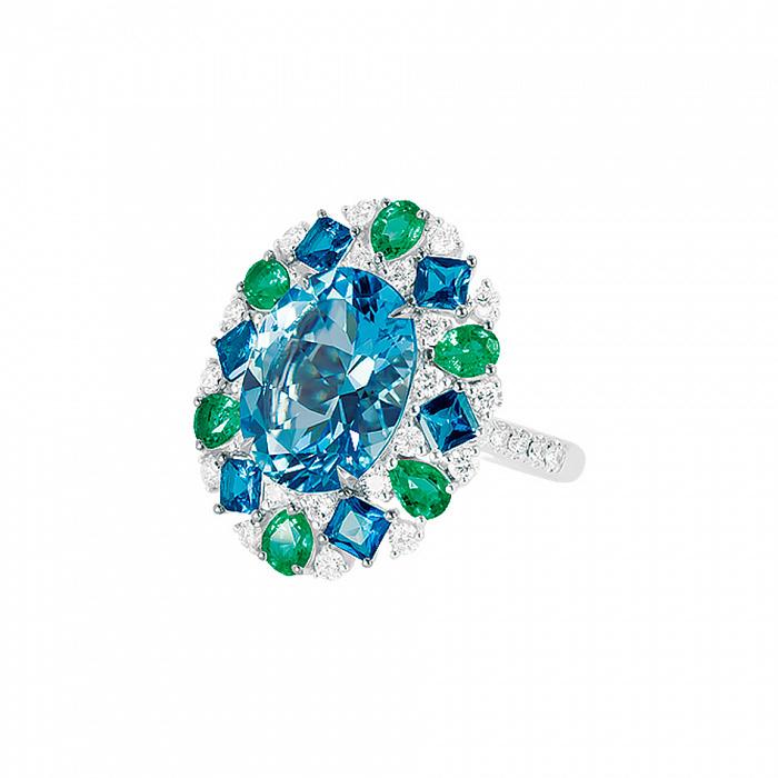 Кольцо из белого золота Эвелина с бриллиантами, изумрудами и топазами 000080901