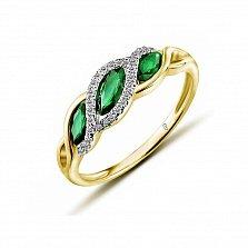 Кольцо в желтом золоте Белла с изумрудом и бриллиантами
