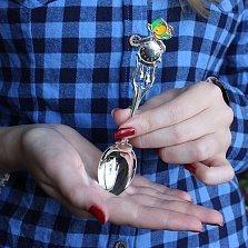 Серебряная детская чайная ложка Цыпленок на часах с колокольчиками