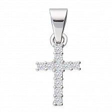 Крестик из белого золота Эллада с бриллиантами