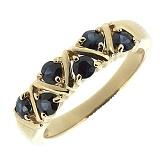 Золотое кольцо Иоланта в красном цвете с сапфирами