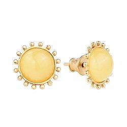 Позолоченные серебряные серьги-пуссеты в виде солнца с лимонным янтарем 000118940