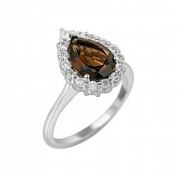 Серебряное кольцо Сусанна с раухтопазом и фианитами