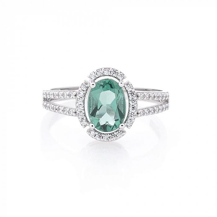 Золотое родированное кольцо Лейла в белом цвете с зеленым кварцем и белыми фианитами 000082341