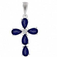 Золотой крестик Сила веры с сапфирами и бриллиантом