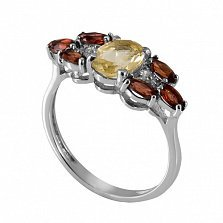 Серебряное кольцо с жёлтым цирконием и гранатом Ульяна