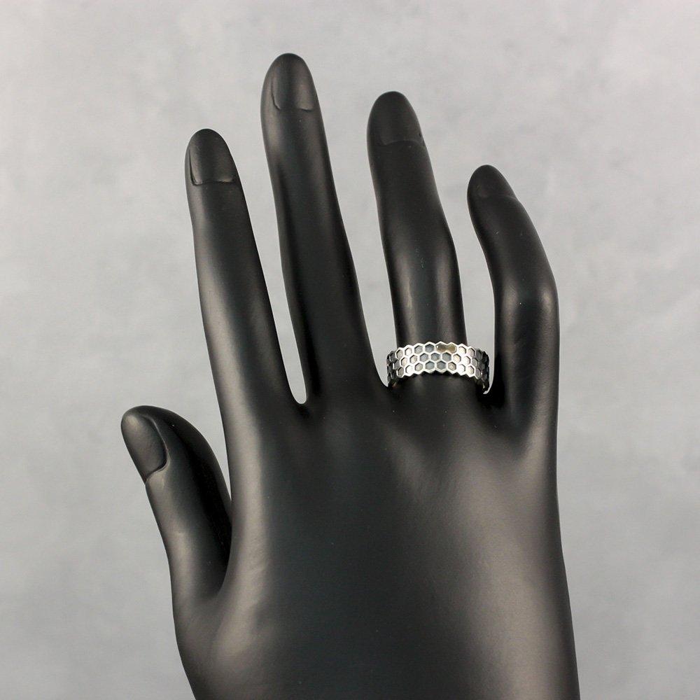 Серебряное кольцо Соты с золотой накладкой