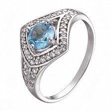 Серебряное кольцо с топазом и фианитами Спарта