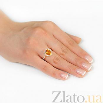 Золотое кольцо Альда с цитрином и фианитами EDM--КД4036ЦИТРИН