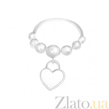 Серебряное кольцо с подвеской Сердце парит с белой эмалью 000081565