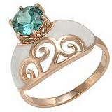 Золотое кольцо Мадам с кварцем и эмалью