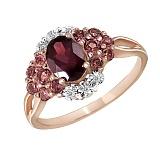 Кольцо из красного золота  с родолитом, турмалинами и бриллиантами