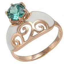 Золотое кольцо Мадам с зеленым кварцем и эмалью