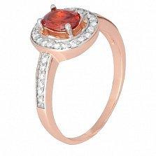 Позолоченное серебряное кольцо с красным фианитом Вистилия