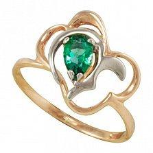 Золотое кольцо Воздушная симфония в комбинированном цвете с синтезированным изумрудом