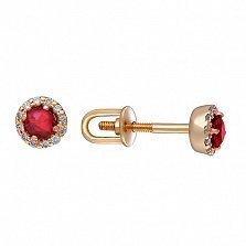 Золотые сережки-пуссеты Теодора с рубинами и бриллиантами