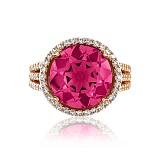 Золотое кольцо Страсть с корундом рубина и фианитами