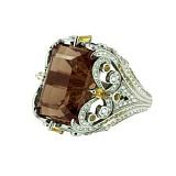 Золотое кольцо с бриллиантами, жёлтым сапфиром и раухтопазом Gina