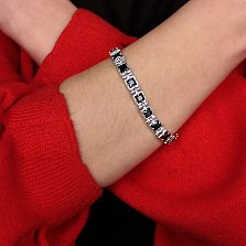 Серебряный браслет Наина с черными фианитами