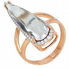 Золотое кольцо Галадриэль с прозрачным кварцем и фианитами
