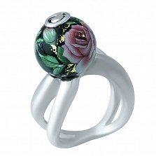 Серебряное кольцо Чайная роза с цветной эмалью