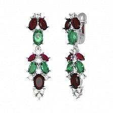 Серебряные серьги Люсьен с гранатом, зеленым кварцем и фианитами