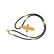 Золотой двусторонний крест Святители на кожаном плетеном жгуте с круглыми золотыми вставками