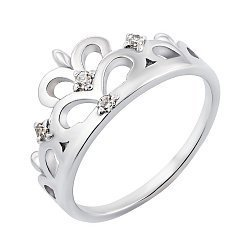 Серебряное кольцо-корона с фианитами 000119289