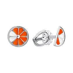 Серебряные серьги-пуссеты с цветной эмалью 000102925