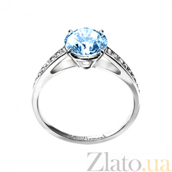 Золотое кольцо с аквамарином и бриллиантами Венец 000029662