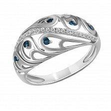 Кольцо из белого золота Наталья с бриллиантами и сапфирами