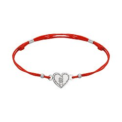 Браслет из серебра и красной шелковой нити Ангел 000145165