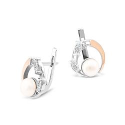 Серебряные серьги Ярослава с золотыми накладками, жемчугом и фианитами 000087658